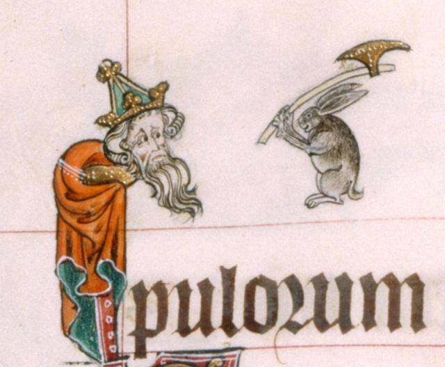 rabbit with axe from Gorleston Psalter 14th century